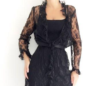 Vintage 70s Sheer Lace Evening Dress Lingerie
